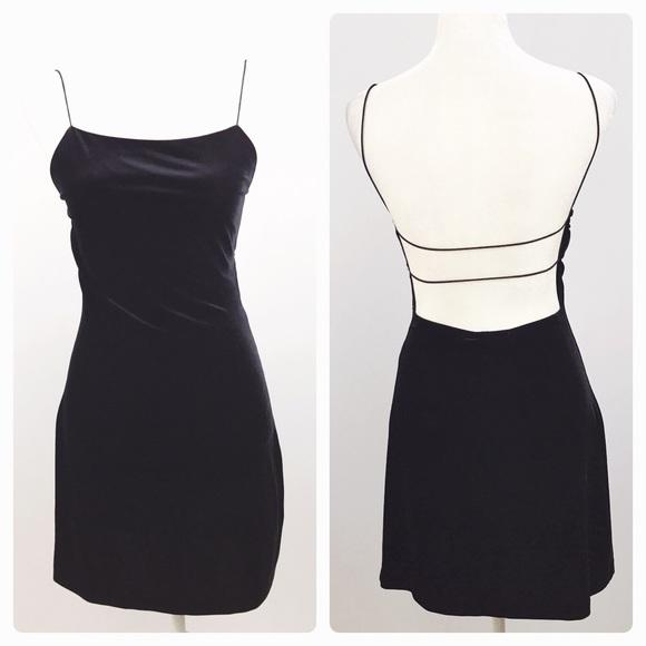 2fd1cbfaa1da Strappy Velvet 90s Low Back Black Velvet Dress. M_5b06542b1dffda0d04afd0dd